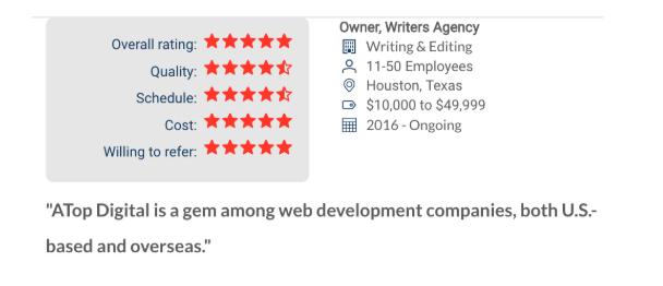 Clutch Clients Reviews